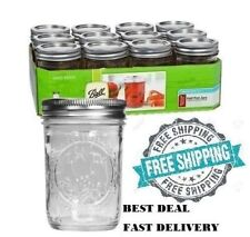 NEW 12 Pack 8 OZ Mason Jars w/ Lids Canning Ball Regular Mouth Half Pint Wedding