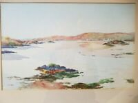 Mary Holden Bird  1900 - 1978 English Seascape Watercolor Framed