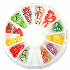 MTSSII 12 Grids Fruit Slices Polymer Clay 3D DIY Nail Art Charm Decoration Wheel