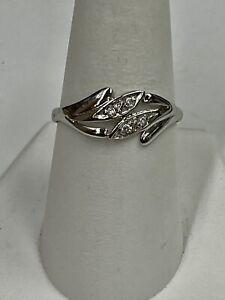 14K White Gold 4 Stone Diamond Fashion Ring Size 9