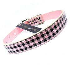 "Pink Check DOG PUPPY COLLARS 3 sizes 8.5-11"", 11-14"", 12-16"" Brand New With Tags"