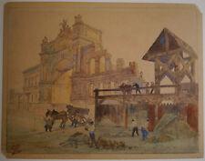 Dessin Aquarelle Ancienne LÉON LEPELTIER Travaux Porte PARIS Construction 1900