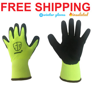 Work Gloves Insulated Winter Warmer Cold Weather Safety Hi-Vis size: S-M-L-XL