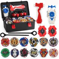 12x Beyblade Burst + L-R Launcher Grip Portable Storage Box Set Gift Starter Top