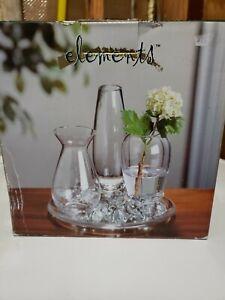 new crystal clear bud vase flower garden tray, 3 bud vases & clear glass rocks