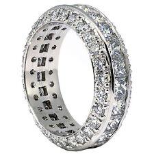 4.11 Quilate Anillo Eternidad Princesa & Diamante Talla Redonda 18 ct oro blanco