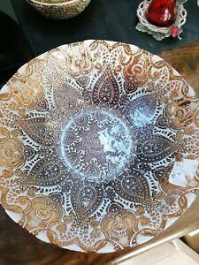 Large Turkish cream gold bowl