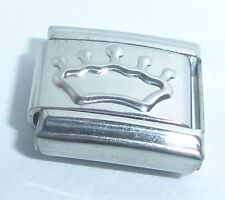 SILVER CROWN Italian Charm - 9mm Princess Queen King fits Classic Bracelets N303