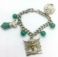 Asian Oriental Theme Chunky Charm Bracelet Jade Glass Vintage Jewelry