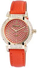 Damenuhr Orange Gold Strass Analog Metall Leder Armbanduhr D-195005500227600
