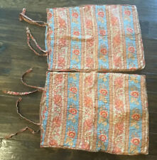 2 Pottery Barn Red Blue BOHO Quilted Floral Paisley Standard Shams Tie Closure