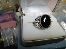Mens  Black onyx in silver 925   oval  10 eagle  nice  ring 18mm  celtic knot