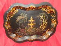 "Large Antique Toleware Tray w/ Flowers / Plants And Fountain - 29 1/4"" x 22 1/4"""