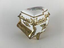 "New ListingGrand piano music box porcelain gold floral ""Amazing Grace"" trinket"
