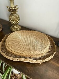Vintage Rattan Oval Placemats & Wicker Tray