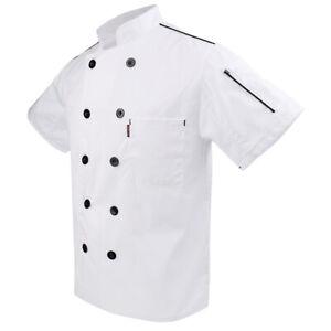 Men Summer Chef Jacket Coat Short Sleeve  Waiter Uniform New M,White