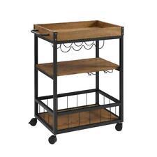 New listing Linon Home Decor Bar Cart Glass Storage Wine Bottle Rack Rectangle 3-Shelves