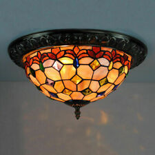 Tiffany Ceiling Lamp Stained Glass Shell Flush Mount Lights Traditional Lighting