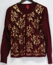NEW G.I.L.I. Lace Cardigan Metallic Floral Print Burgundy Wine Red Sweater Large