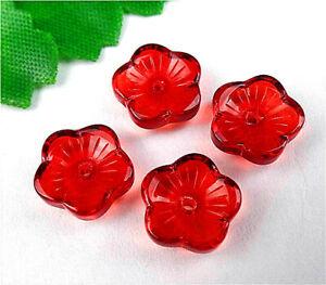 4Pcs 10x10x4mm Red Czech Lampwork Glass Pressed Flower Pendant Bead AP20829