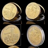 TWIN TOWERS WORLD TRADE CENTRE  9/11 GOLD PLATED COMMEMORATIVE COIN WITH CAPSULE
