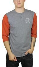 Brixton Mens Wheeler 3/4 Sleeve Henley L/S T-Shirt Heather Grey Henna Size M New