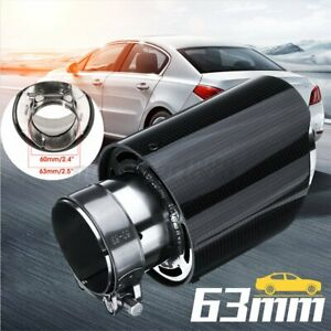 63MM Glossy Carbon Fiber Auto Car Exhaust Pipe Tail Muffler End Tip   AU l