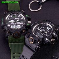 SANDA Mens Sport Military Watches Quartz Analog Digital Display Date Alarm Watch