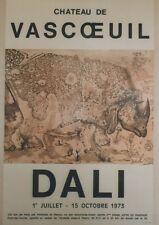 """""""DALI : EXPOSITION CHATEAU DE VASCOEUIL 1973"""" Affiche originale entoilée"""