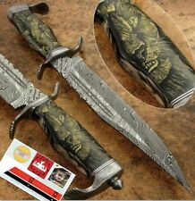 """14"""" Damascus hunting knife forged Damascus Steel with Engraved Art Bone Handle"""