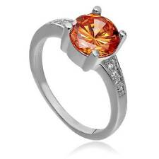 Platinum Amber Zircon & crystal Ring Size 6.5 ~Ships FREE to US R32