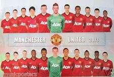 "MANCHESTER UNITED ""2 ROWS OF 2013 PLAYERS"" POSTER - Soccer, UEFA League Football"