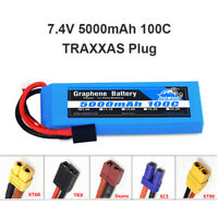 Yowoo Graphene 2S 7.4V Lipo Battery 5000mAh 100C TRX for RC Helicopter Car Truck
