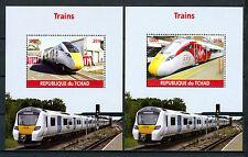 Chad 2016 MNH Modern High Speed Trains 2x 1v M/S Virgin Azuma Railways Stamps