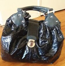 Large ESPRIT black round hobo bucket 'lacquered' bag tote handbag