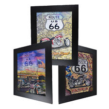 3 Dimension 3D Lenticular Picture US Route 66 Highway Motor Bike Mother Road