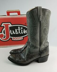 Justin Bay Apache Gray Men's leather Cowboy Boots w/ Box 10.5 D preowned USA TX