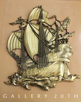 MINTY! MID CENTURY REGENCY GOLD SHIP WALL ART! VTG SCULPTURE 50'S GALLEON
