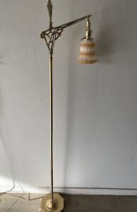 """Antique 60"""" Cast Iron Base Solid Brass Bridge Arm Art Deco Vintage FLOOR LAMP"""