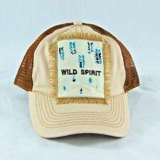 HAT Wild Spirit BOHO Arrows Fringe Trucker Baseball Cap Tan Brown Ladies Fashion