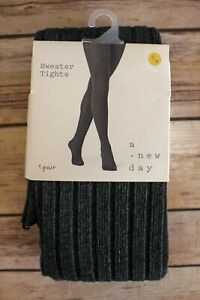 A New Day Ribbed Textured Footed Sweater Tights Small/Medium Charcoal Gray NEW
