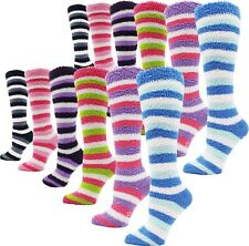 Soft Fuzzy Socks, 12 Pairs Womens Girls, Warm Microfiber Non-Skid Slippers Bulk