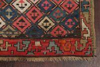 Pre-1900 Antique Vegetable Dye Tribal Kazak Caucasian Wool Runner Rug Carpet 3x8