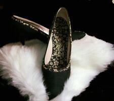 Vintage 1950s Pointy Black Silk Montaldo's Couture Heels Pinup Dita Viva 7.5 N
