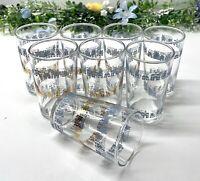 "Vtg Federal Glass 3 5/8"" Juice Glasses w/Blue Gold Houses & Trees 4 oz Set of 8"