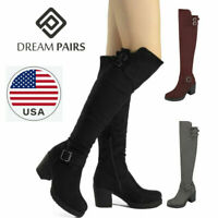 DREAM PAIRS Womens Over Knee Thigh High Slouch Suede High Heel Boots Choose Size
