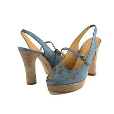 Delman Womens Sahara Denim Suede Mary Jane Cut Out Platform Sandal Heels 9
