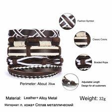 5/6pcs Mens Punk Leather Wrap Braided Wristband Cuff Bangle Bracelet Jewelry Hot
