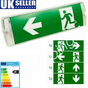 ⭐LED Emergency Light Exit Bulkhead Maintained/Non-Maintained Left/Right/Down QE