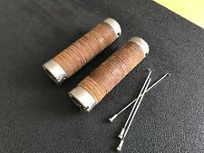 Brooks Plump Leather Grips Pair 130mm Brown Stacked Leather. Awsome!
